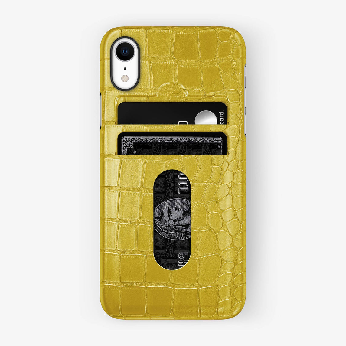 Alligator [iPhone Card Holder Case] [model:iphone-xr-case] [colour:yellow] [finishing:black]