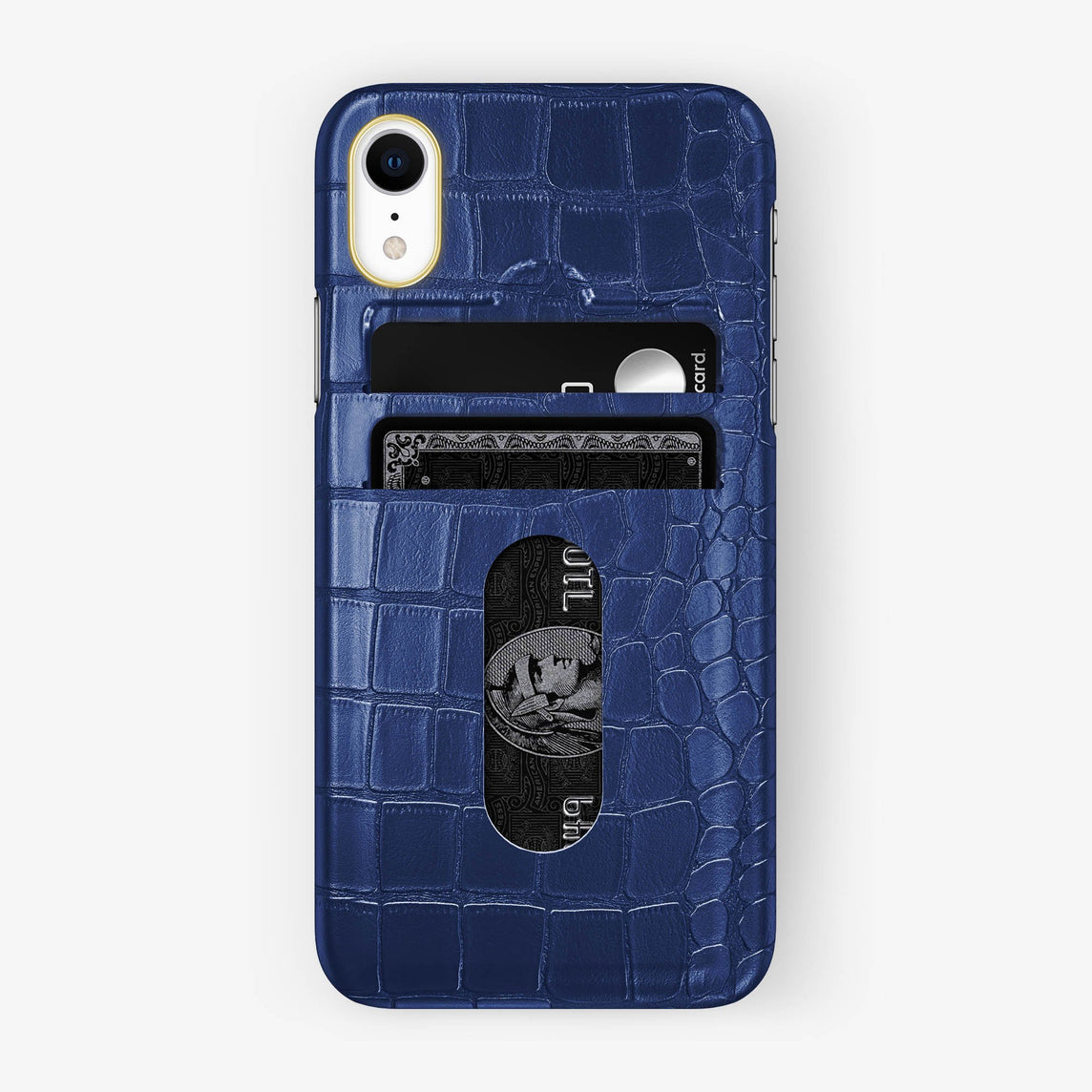 Alligator Card Holder Case iPhone Xr | Navy blue - Yellow Gold
