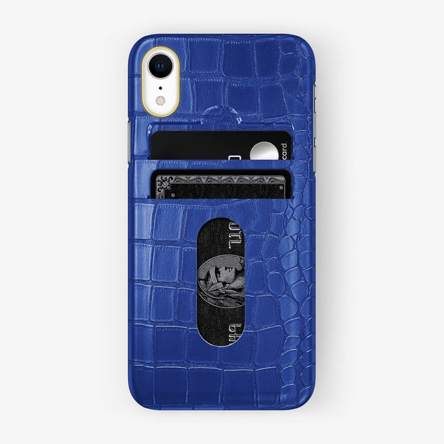 Alligator [iPhone Card Holder Case] [model:iphone-xr-case] [colour:peony-blue] [finishing:yellow-gold]