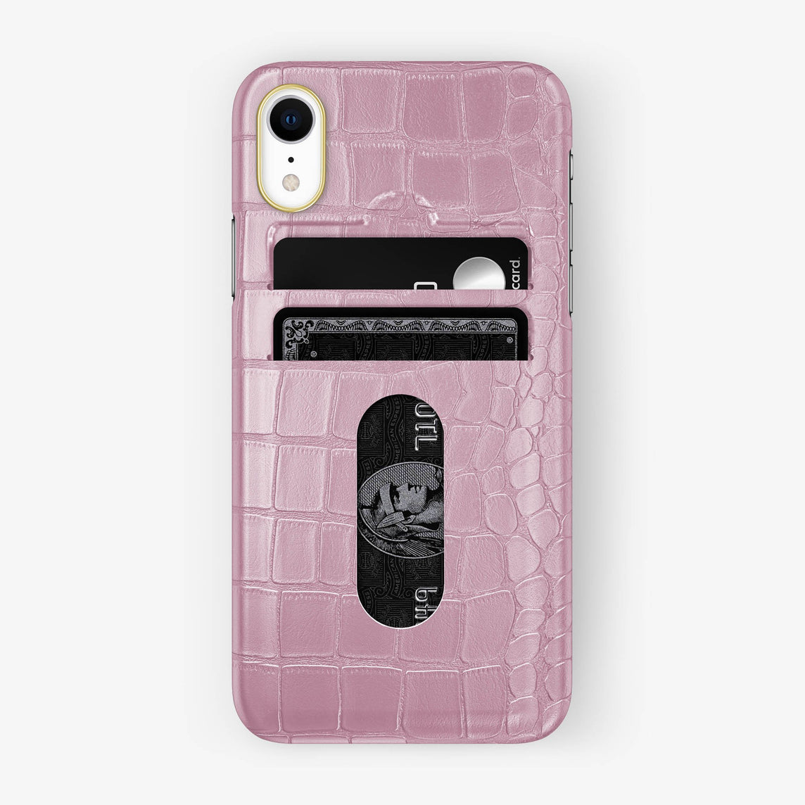 Alligator [iPhone Card Holder Case] [model:iphone-xr-case] [colour:pink] [finishing:yellow-gold]