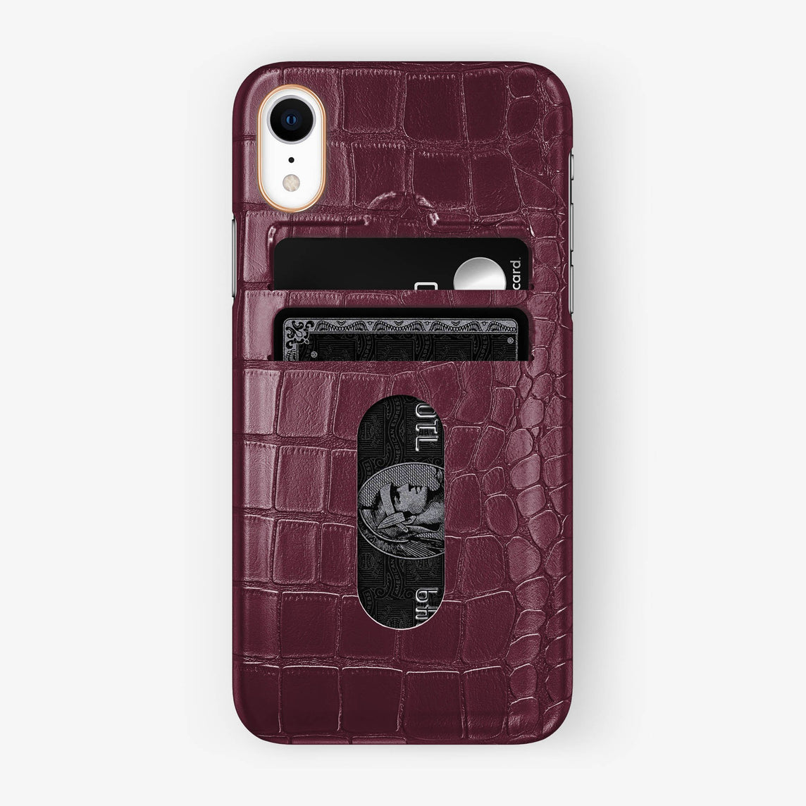 Alligator [iPhone Card Holder Case] [model:iphone-xr-case] [colour:burgundy] [finishing:rose-gold]