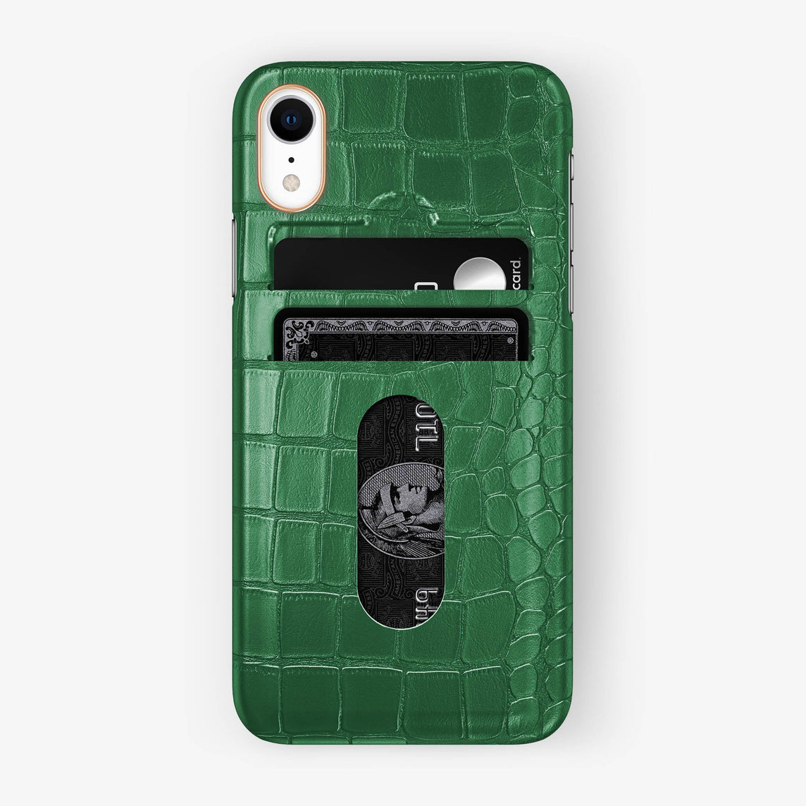 Alligator Card Holder Case iPhone Xr | Green - Rose Gold