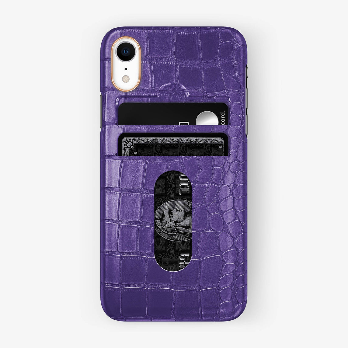 Alligator [iPhone Card Holder Case] [model:iphone-xr-case] [colour:purple] [finishing:rose-gold]