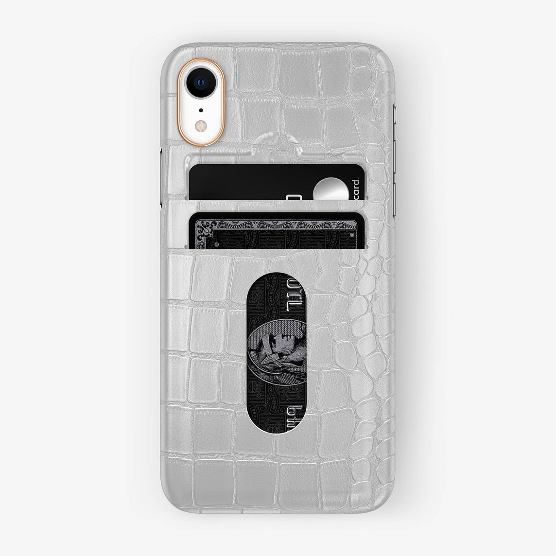 Alligator [iPhone Card Holder Case] [model:iphone-xr-case] [colour:white] [finishing:rose-gold]