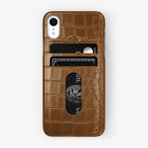 Alligator [iPhone Card Holder Case] [model:iphone-xr-case] [colour:cognac] [finishing:stainless-steel]