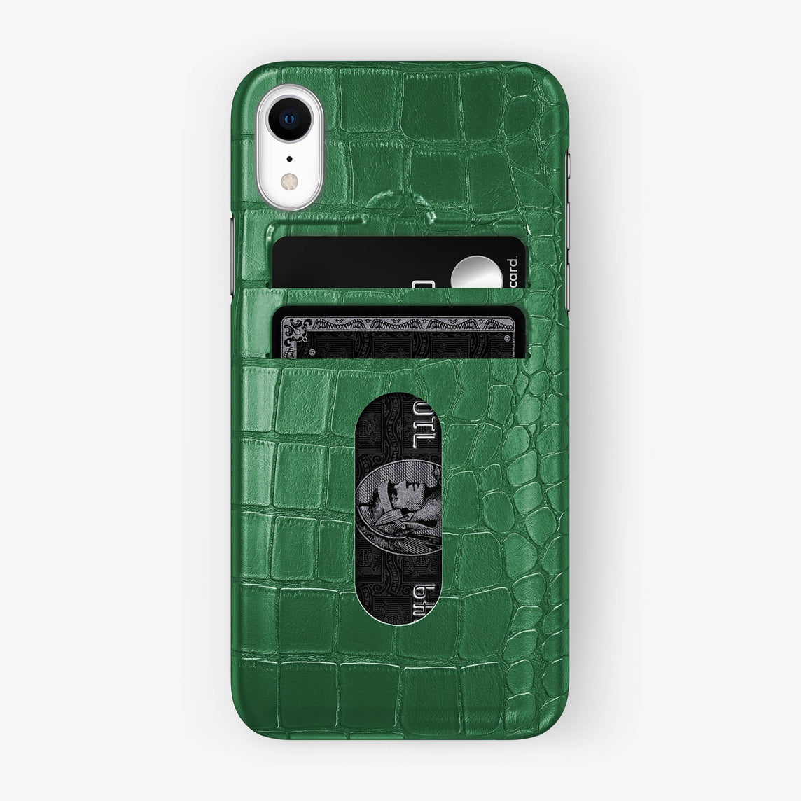 Alligator Card Holder Case iPhone Xr | Green - Stainless Steel