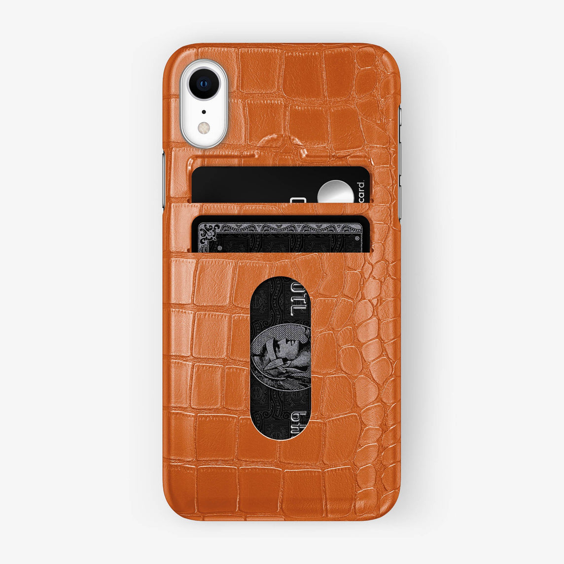 Alligator Card Holder Case iPhone Xr | Orange - Stainless Steel