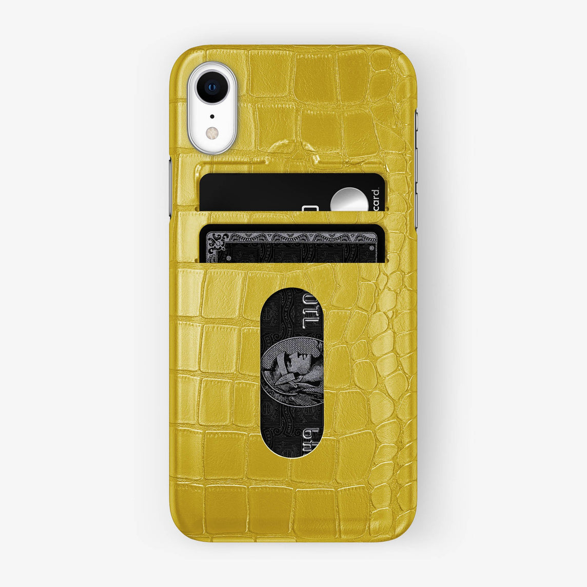 Alligator [iPhone Card Holder Case] [model:iphone-xr-case] [colour:yellow] [finishing:stainless-steel]