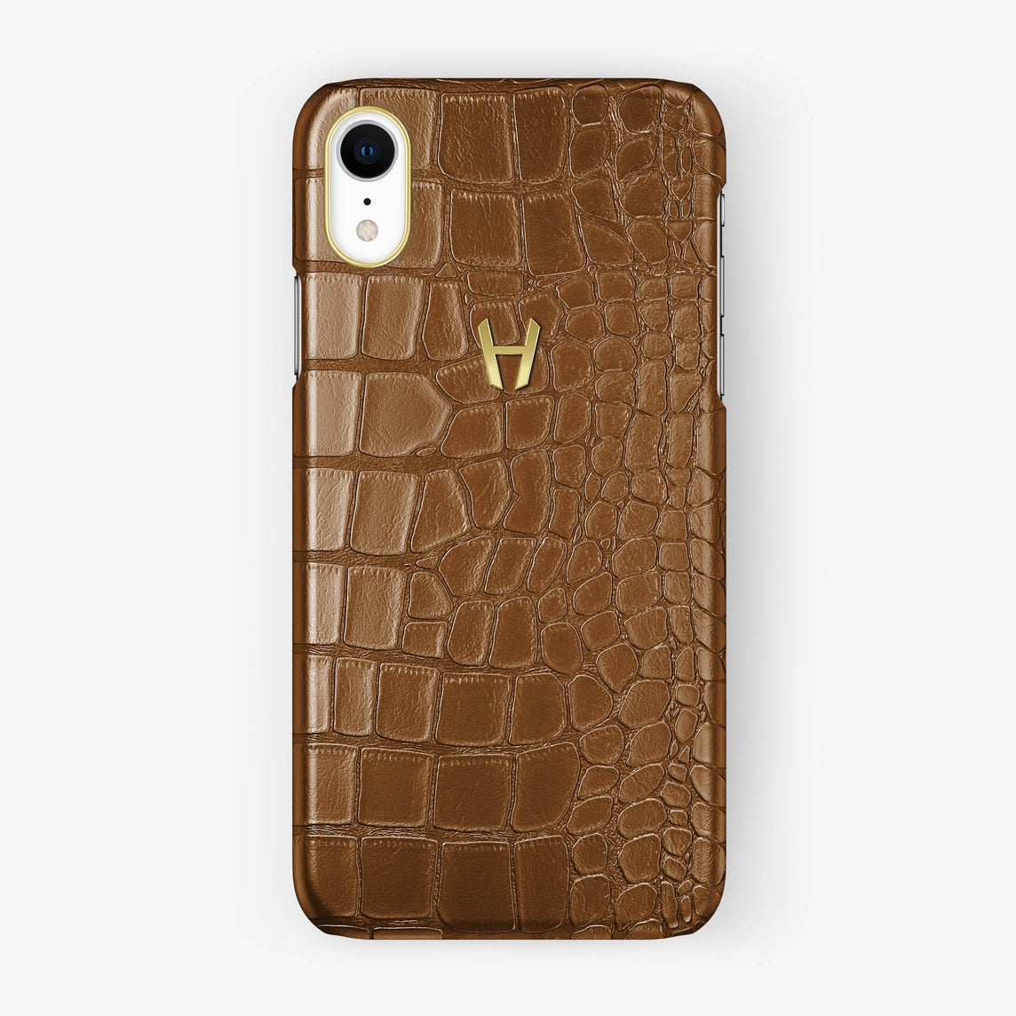 Alligator [iPhone Case] [model:iphone-xr-case] [colour:cognac] [finishing:yellow-gold]