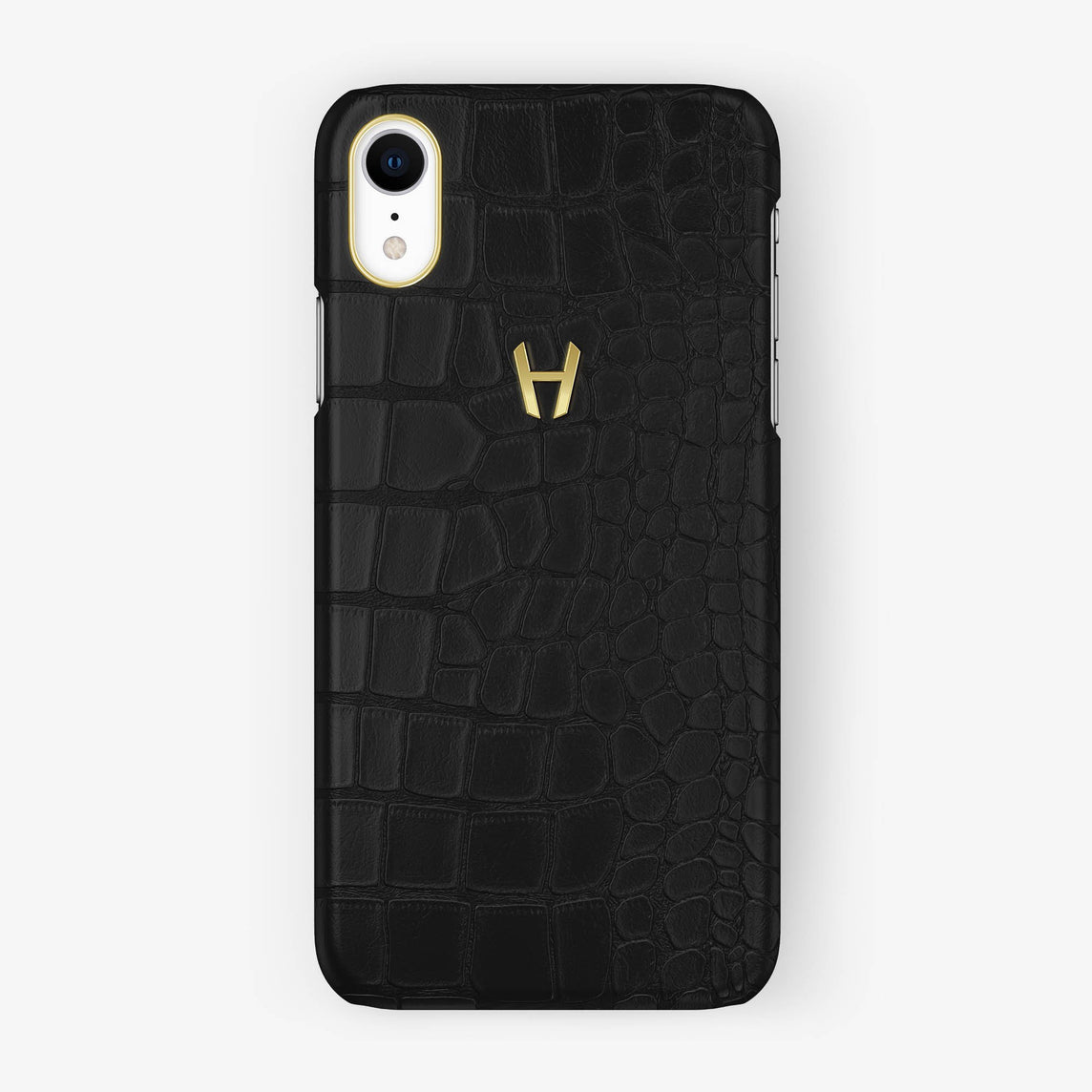 Alligator [iPhone Case] [model:iphone-xr-case] [colour:phantom-black] [finishing:yellow-gold]