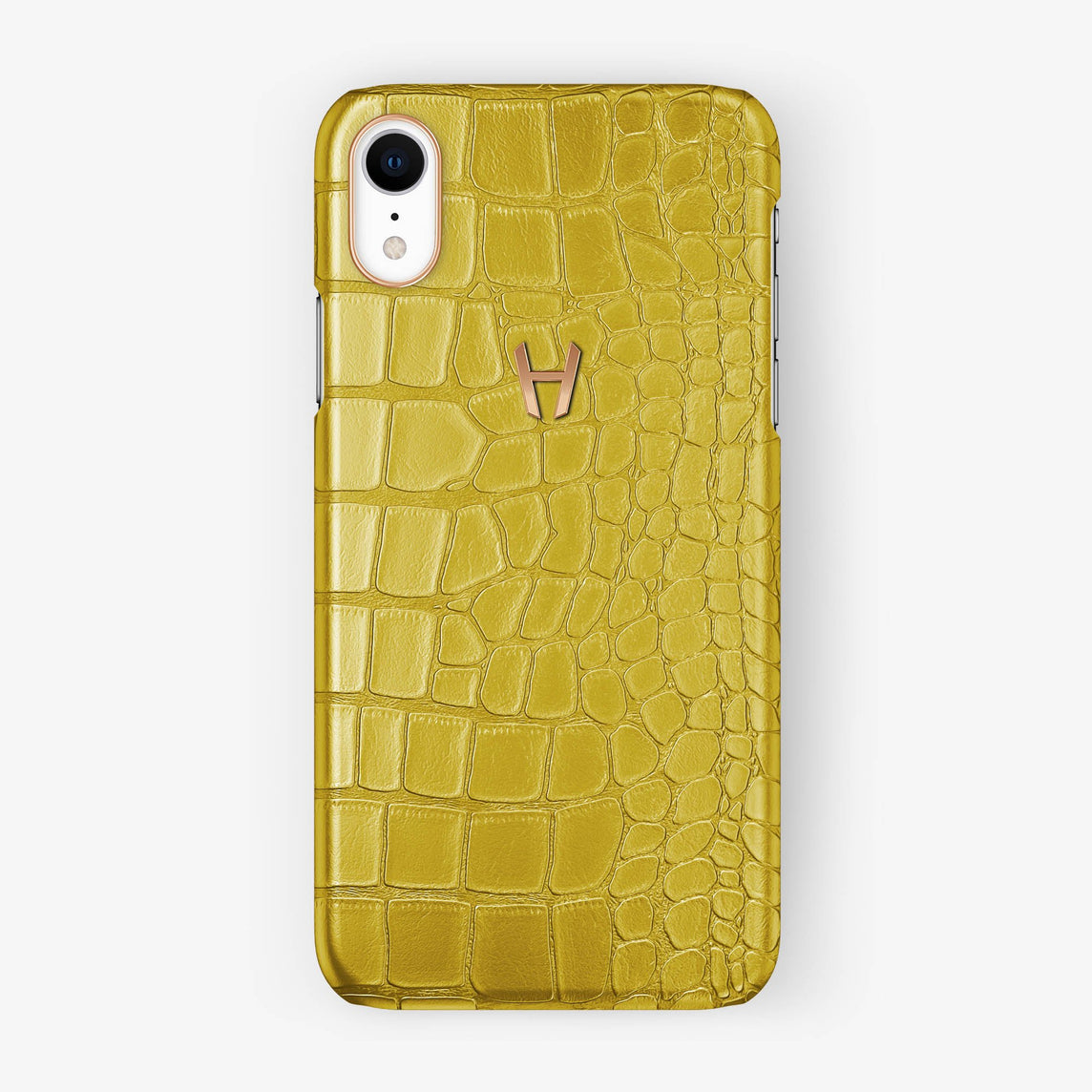 Alligator [iPhone Case] [model:iphone-xr-case] [colour:yellow] [finishing:rose-gold]