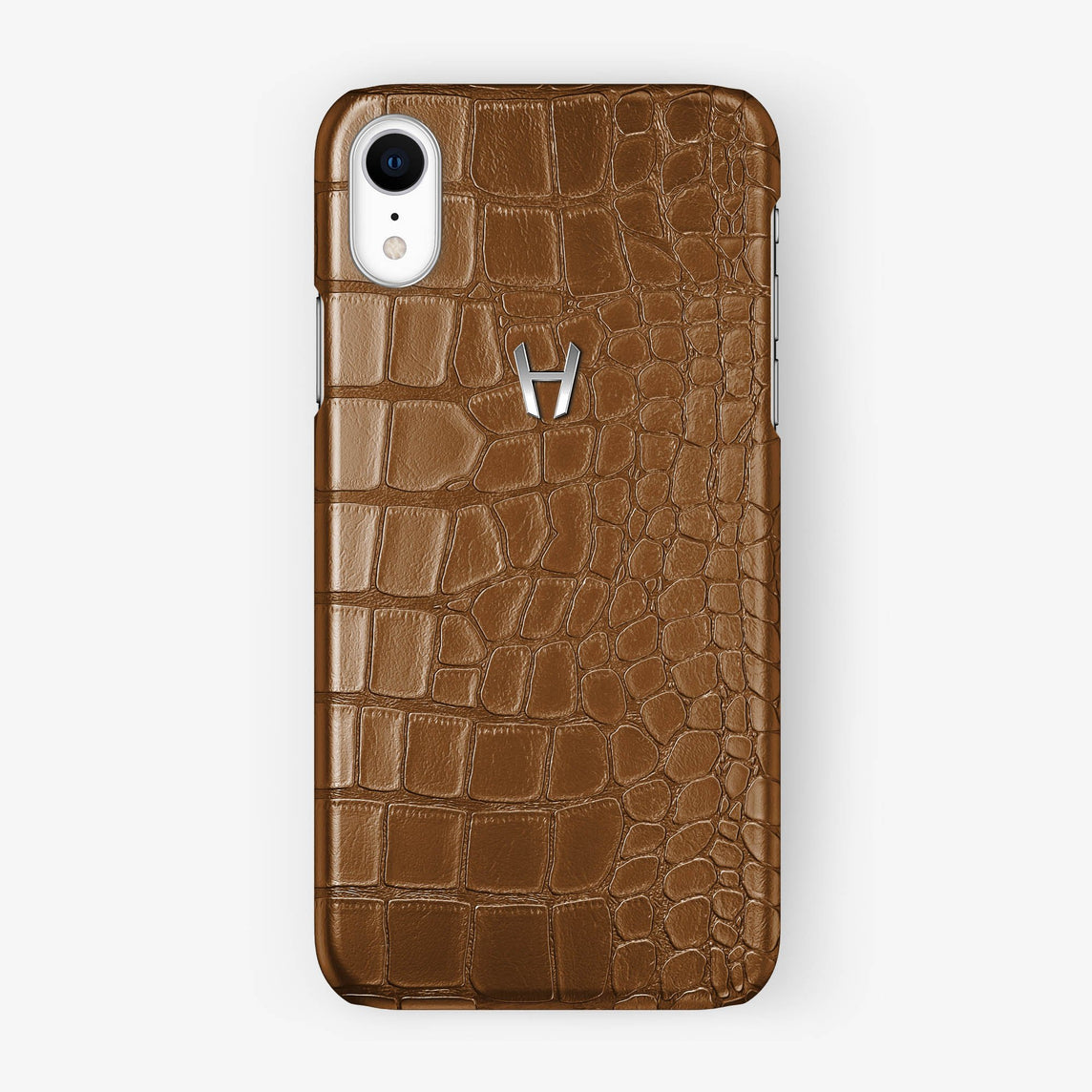 Alligator [iPhone Case] [model:iphone-xr-case] [colour:cognac] [finishing:stainless-steel]
