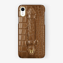 Alligator [iPhone Finger Case] [model:iphone-xr-case] [colour:cognac] [finishing:yellow-gold]