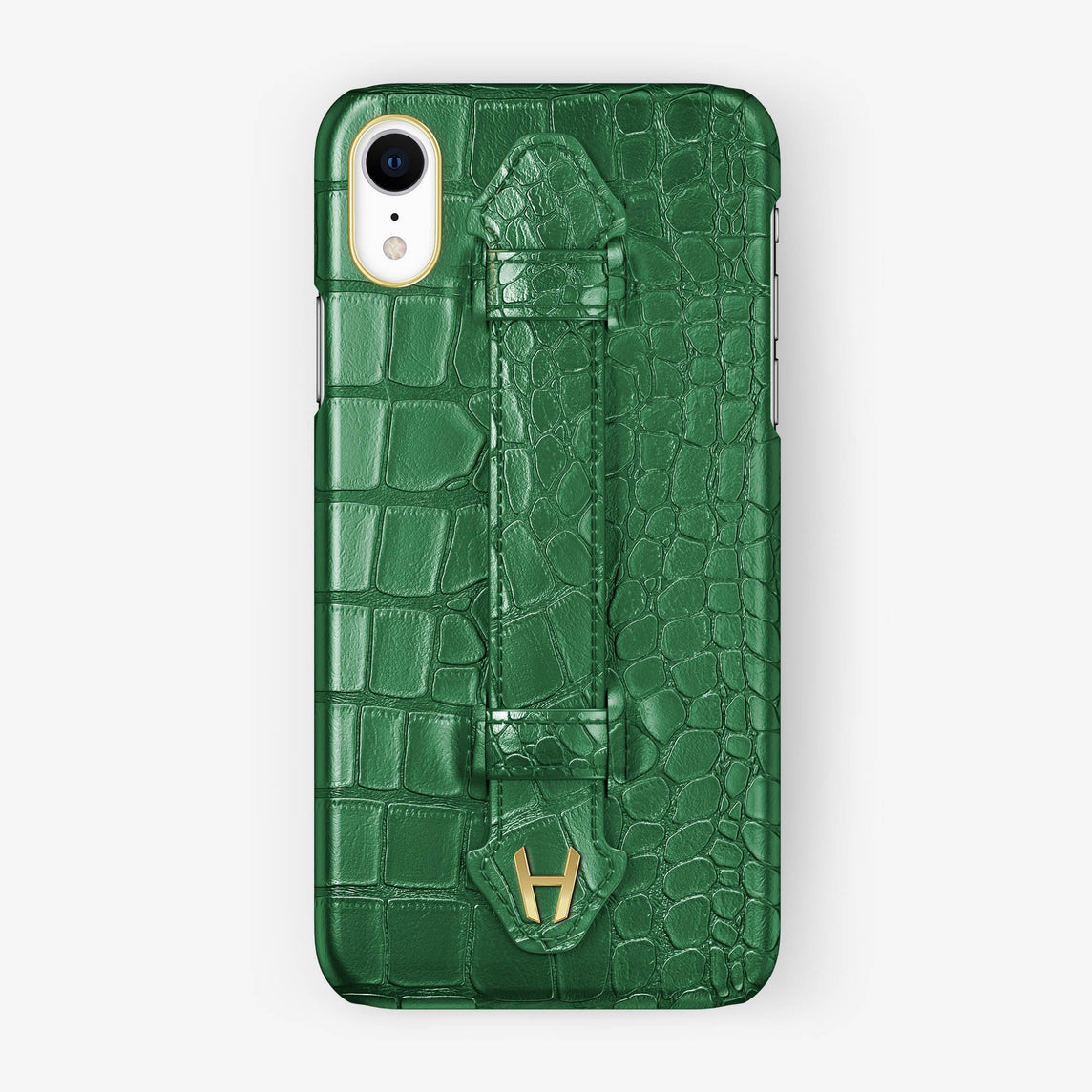 Alligator [iPhone Finger Case] [model:iphone-xr-case] [colour:green] [finishing:yellow-gold]