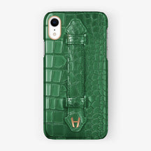Alligator [iPhone Finger Case] [model:iphone-xr-case] [colour:green] [finishing:rose-gold]