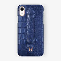 Alligator Finger Case iPhone Xr | Navy blue - Rose Gold without-personalization