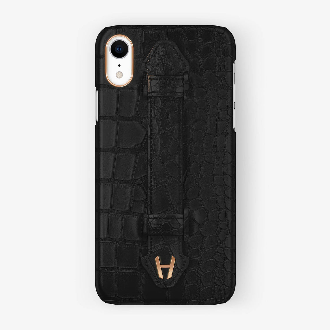 Alligator [iPhone Finger Case] [model:iphone-xr-case] [colour:phantom-black] [finishing:rose-gold]