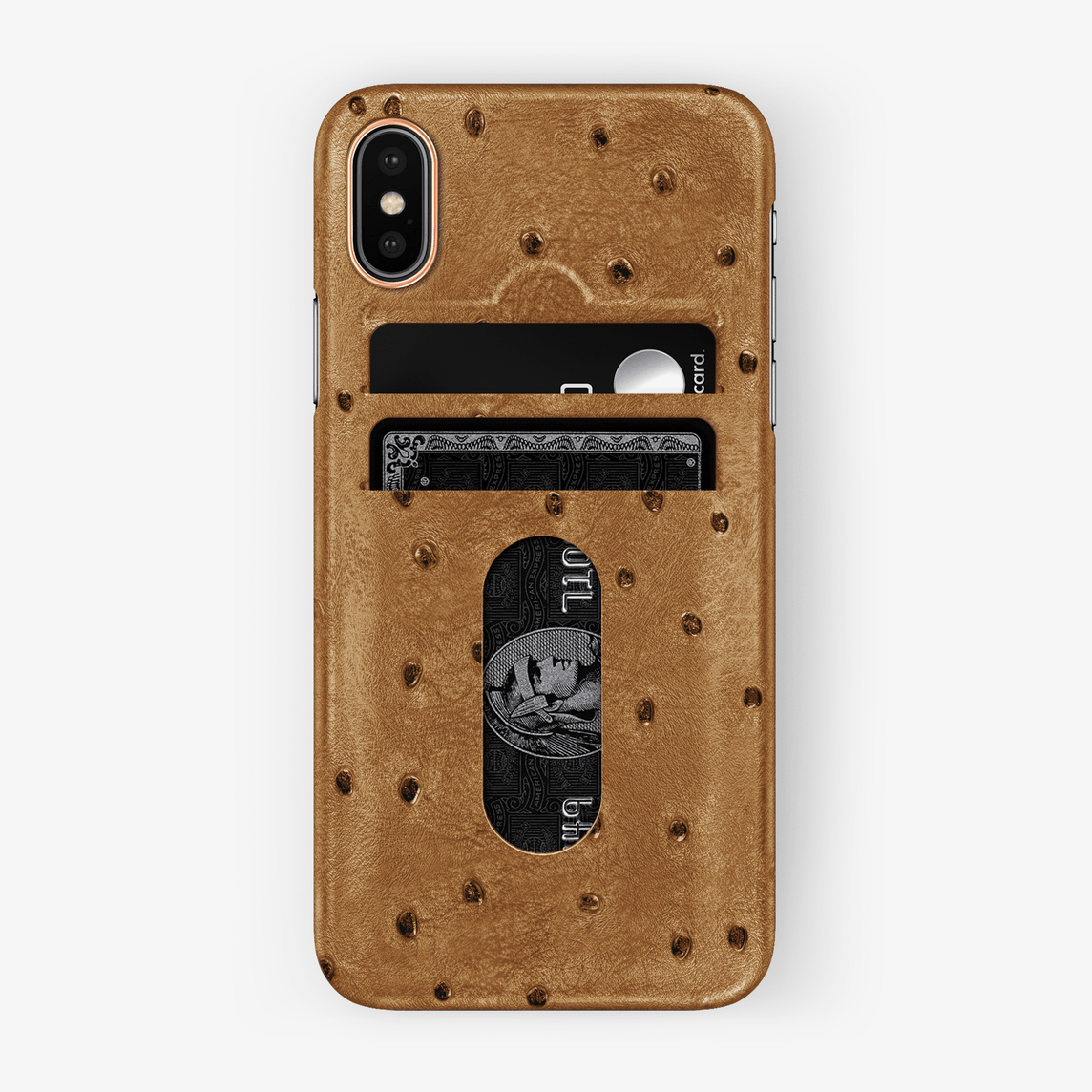 Ostrich Card Holder Case iPhone Xs | Chestnut - Rose Gold