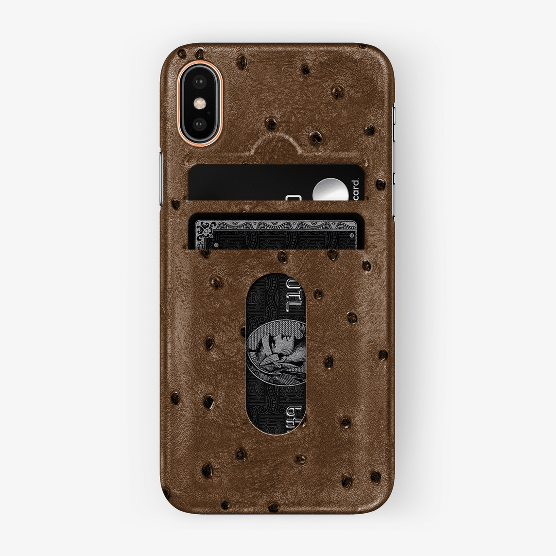 Ostrich Card Holder Case iPhone Xs | Tobacco - Rose Gold