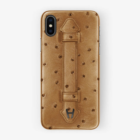 Ostrich Finger Case iPhone Xs Max | Chestnut - Black