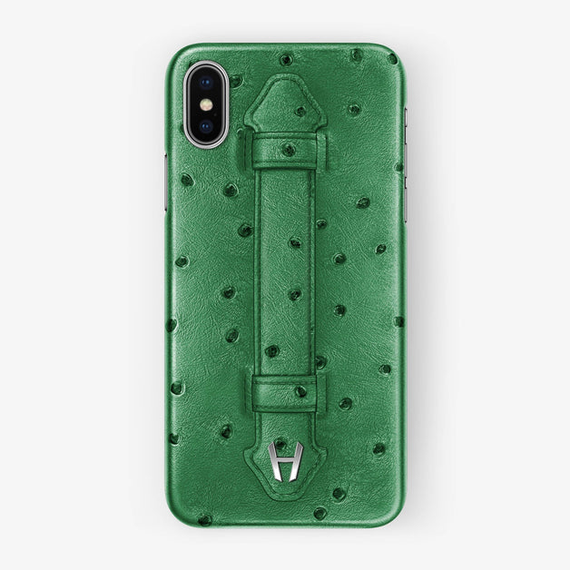 Ostrich Finger Case iPhone Xs | Green - Stainless Steel without-personalization
