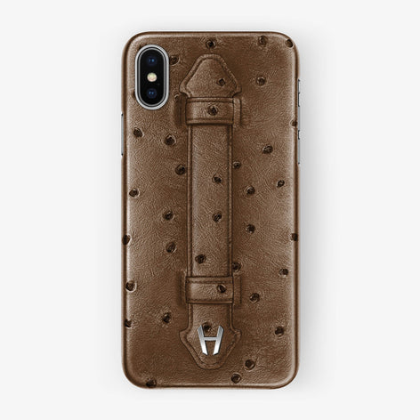 Ostrich Finger Case iPhone Xs | Tobacco - Stainless Steel without-personalization