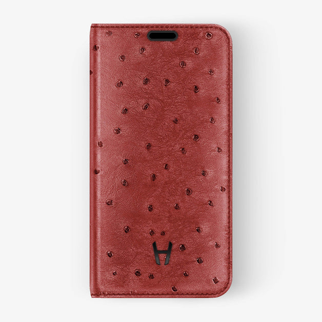 Ostrich [iPhone Folio Case] [model:iphone-xs-case] [colour:lipstick] [finishing:black]