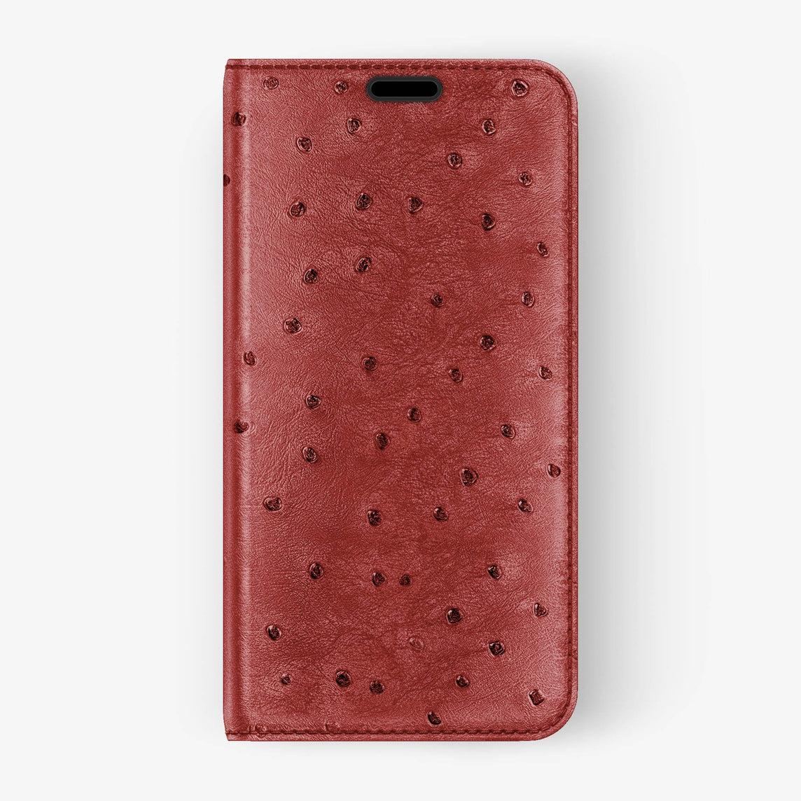 Ostrich Folio Case iPhone Xs | Lipstick - Black without-personalization