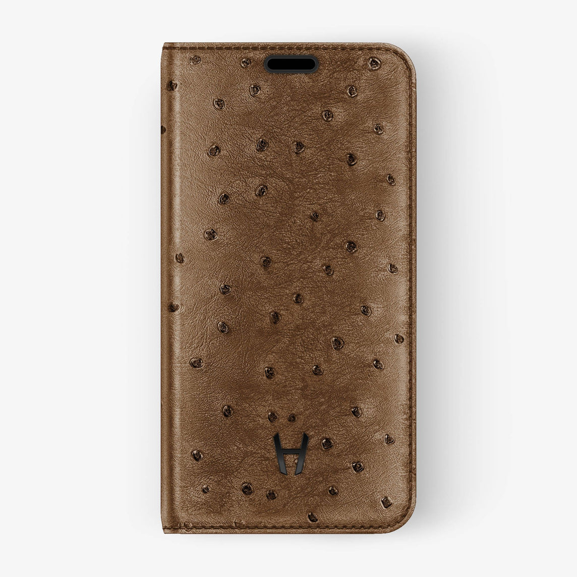 Ostrich Folio Case iPhone Xs | Tobacco - Black without-personalization