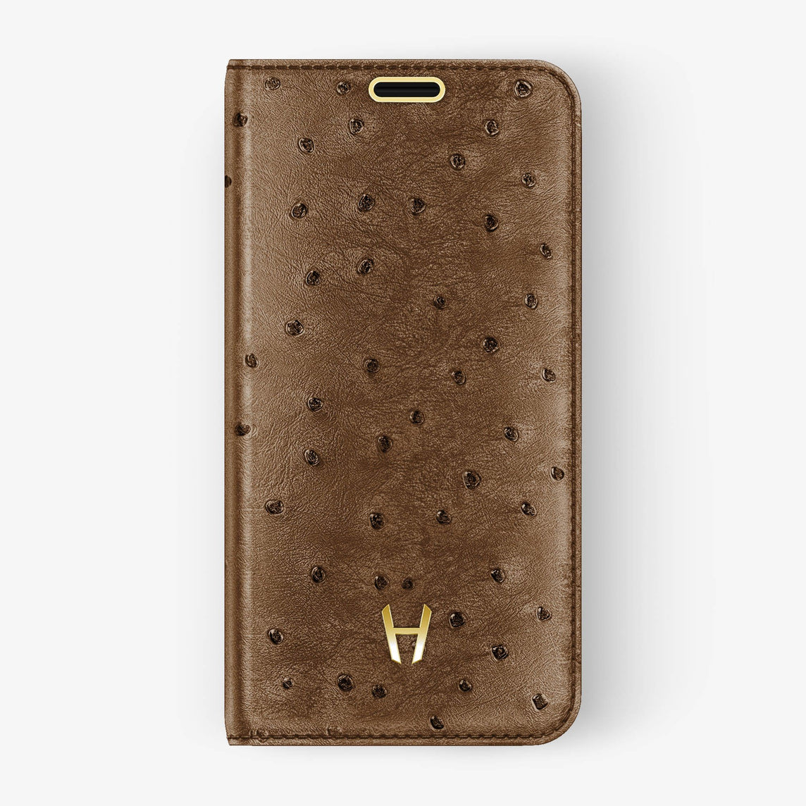 Ostrich Folio Case iPhone Xs | Tobacco - Yellow Gold without-personalization
