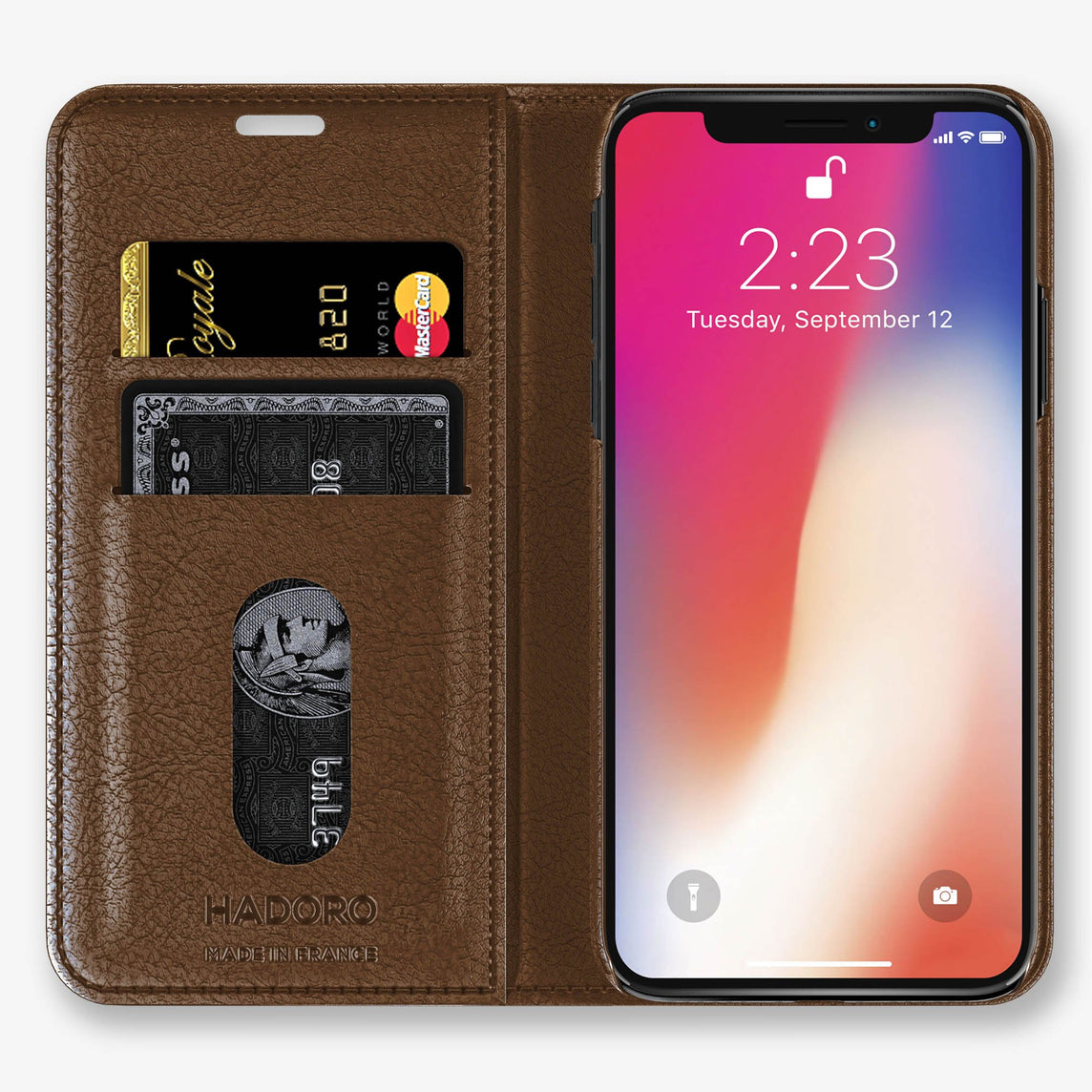 Ostrich Folio Case iPhone Xs | Tobacco - Rose Gold without-personalization