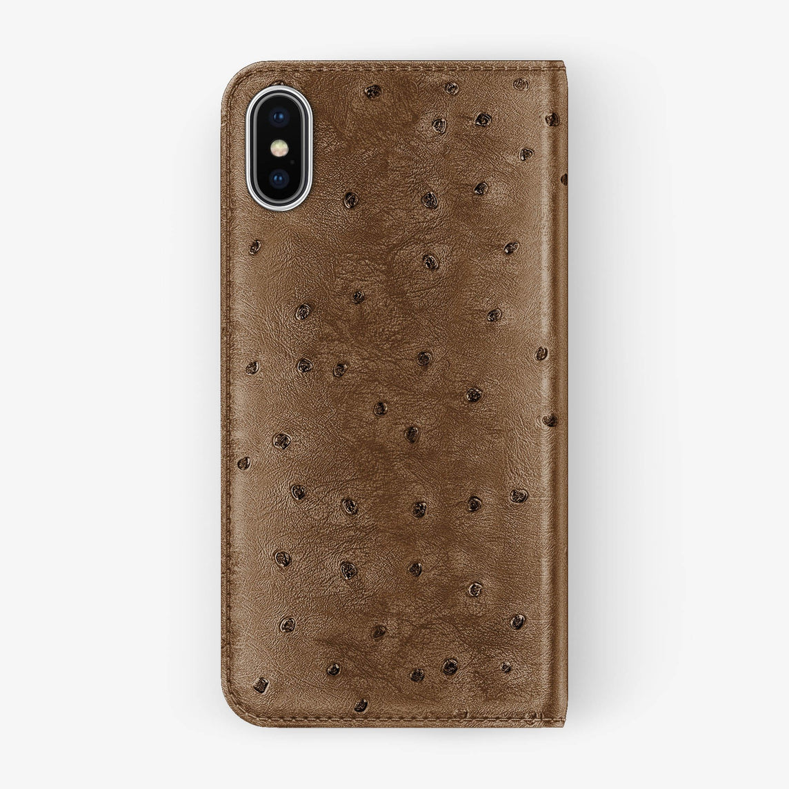 Ostrich Folio Case iPhone Xs | Tobacco - Stainless Steel without-personalization