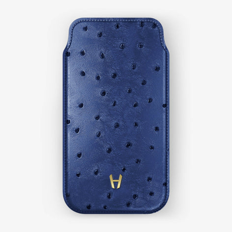 Ostrich Sleeve Case iPhone X | Blue - Yellow Gold