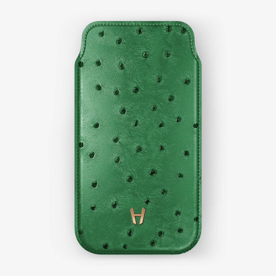 newest c3839 cfde4 Ostrich Sleeve Case iPhone Xs Max | Green - Rose Gold