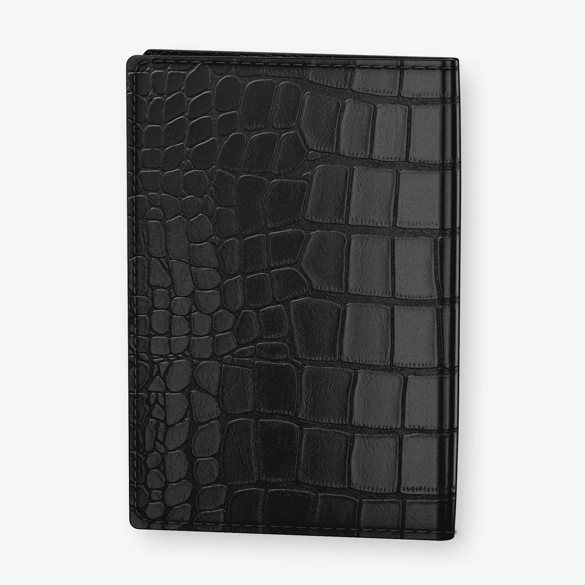 Alligator Passport Cover  | Black - Yellow Gold