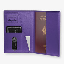 Alligator Passport Cover  | Purple - Yellow Gold