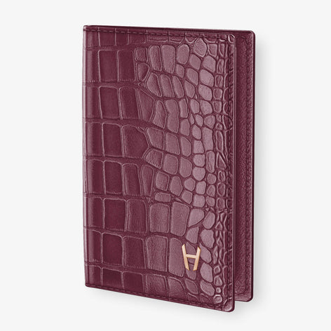 Alligator Passport Cover  | Burgundy - Rose Gold