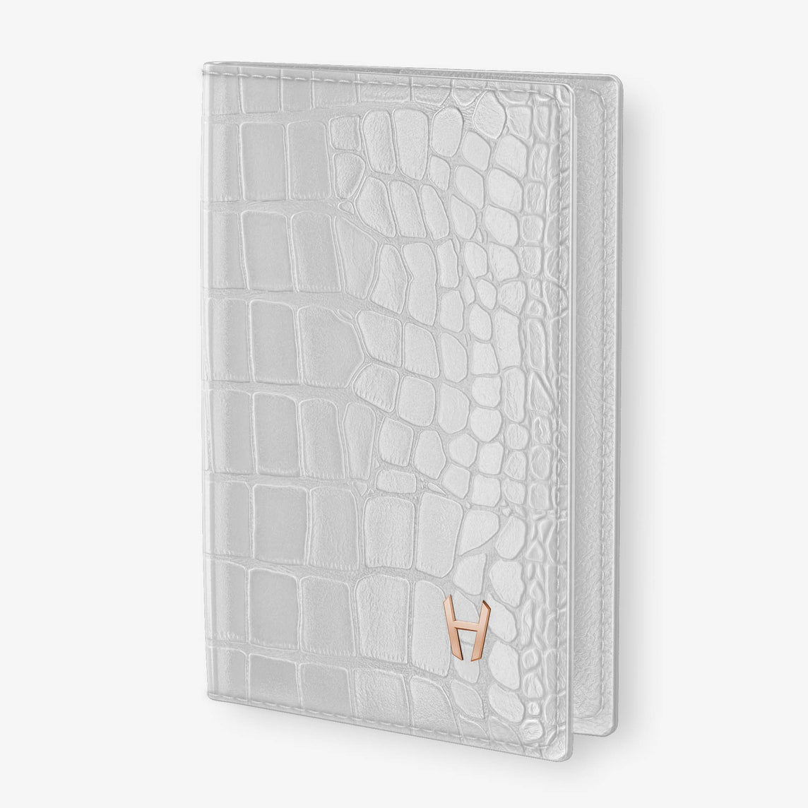 Alligator Passport Cover  | White - Rose Gold