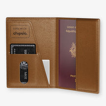 Alligator Passport Cover  | Cognac - Stainless Steel