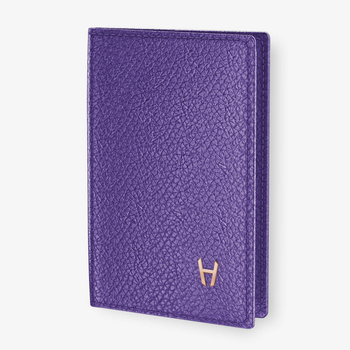Calfskin Passport Cover  | Purple - Rose Gold