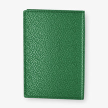 Calfskin Passport Cover  | Green - Stainless Steel