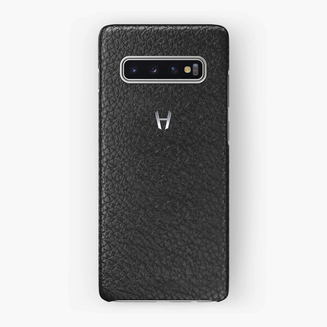 Calfskin Case Samsung S10 | Black - Stainless Steel