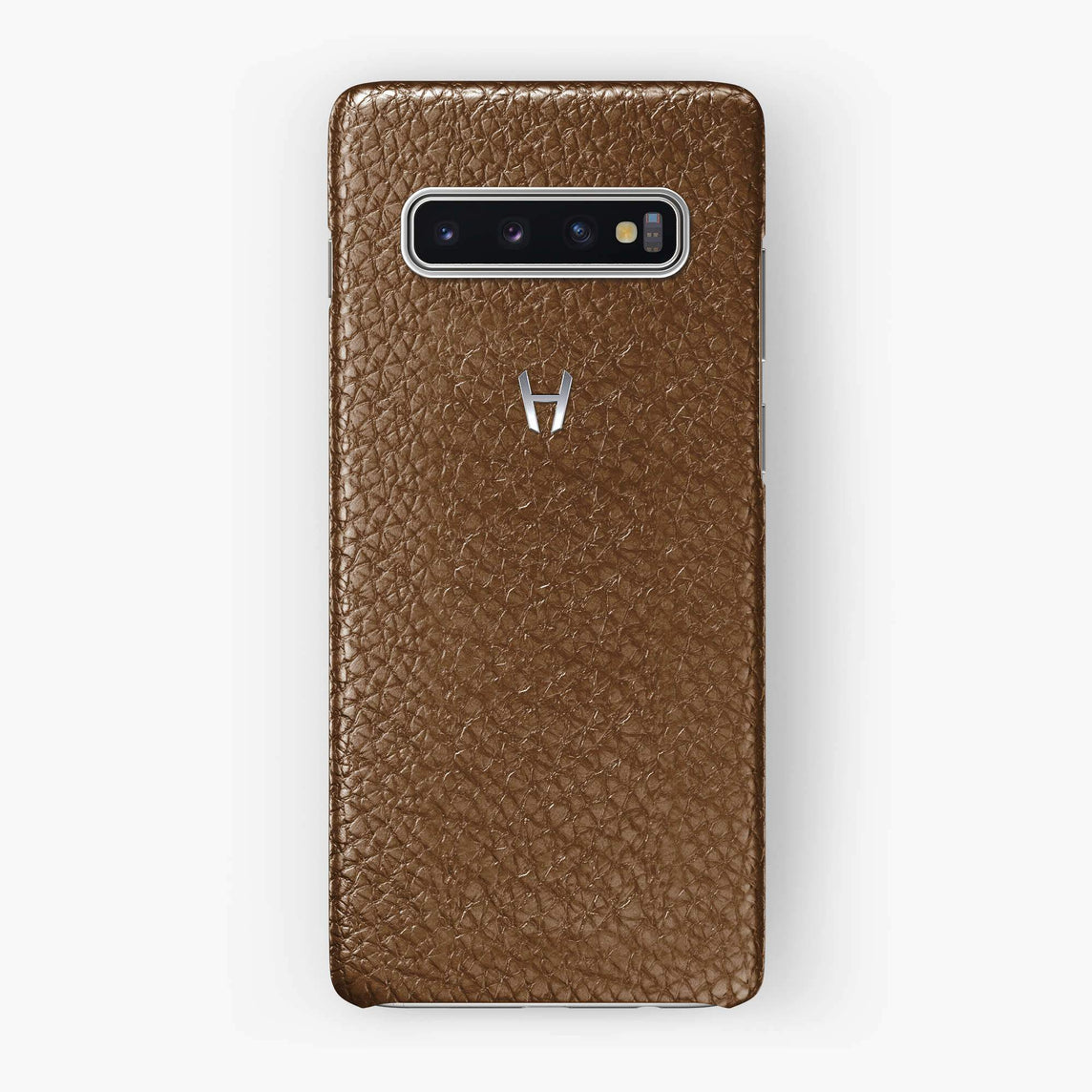 Calfskin Case Samsung S10 | Brown - Stainless Steel