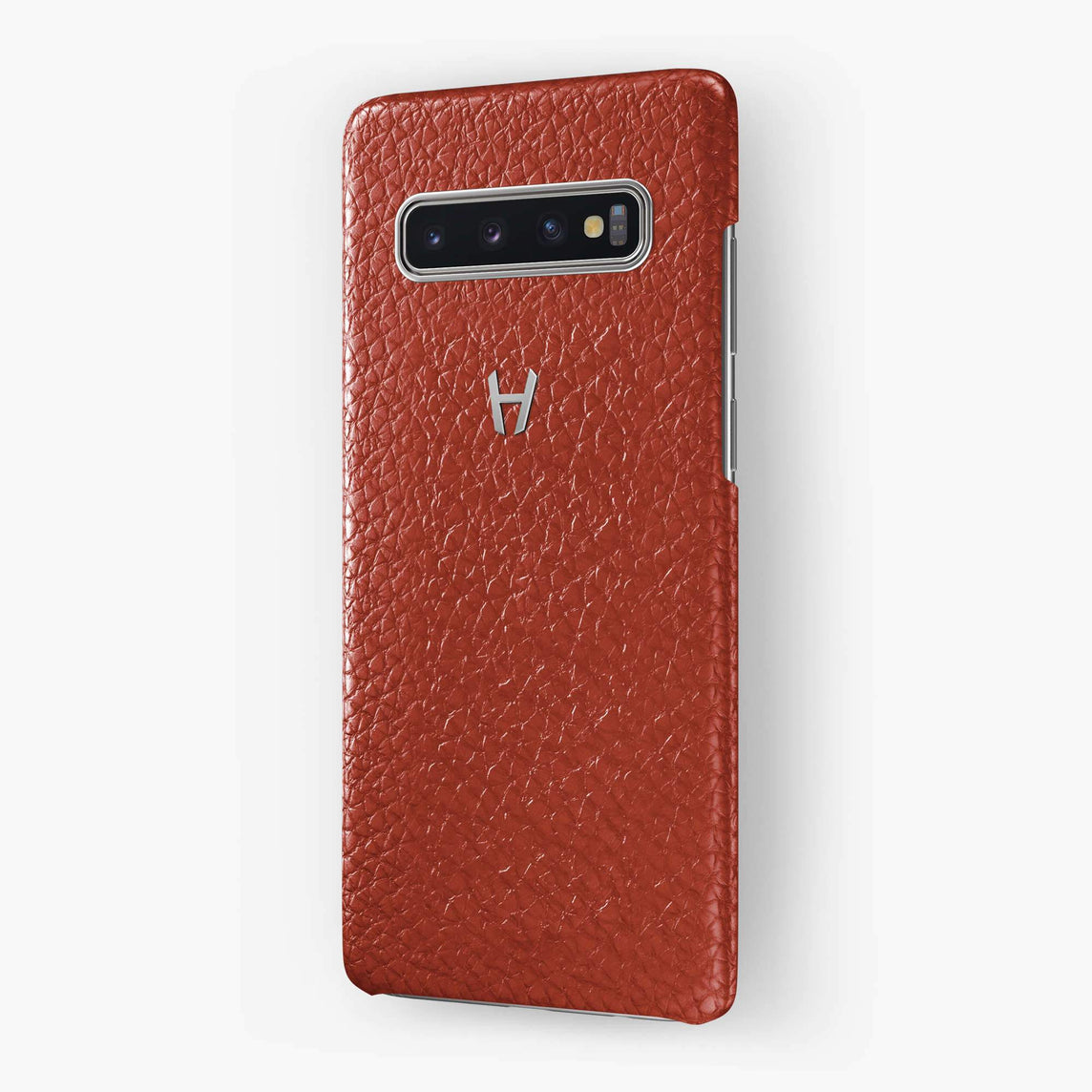 Calfskin Case Samsung S10 | Red - Stainless Steel