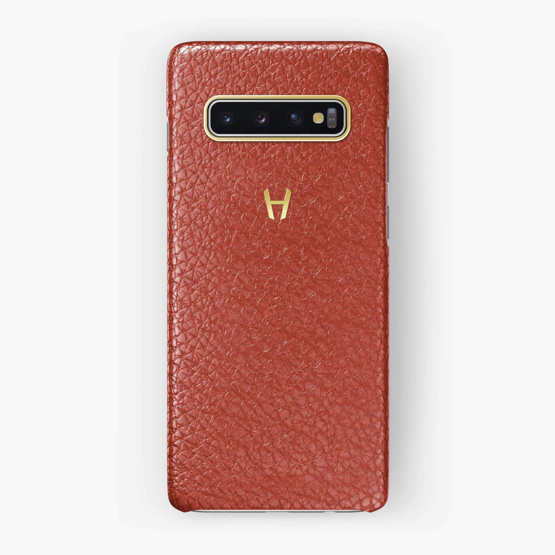 Calfskin Case Samsung S10 | Red - Yellow Gold