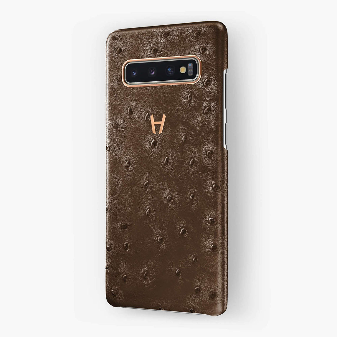 Ostrich Case Samsung S10 | Tobacco - Rose Gold