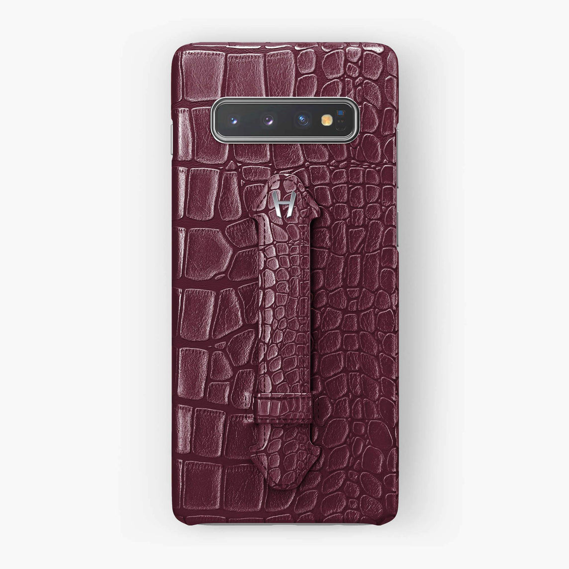 Alligator Finger Case Samsung S10 | Burgundy - Stainless Steel