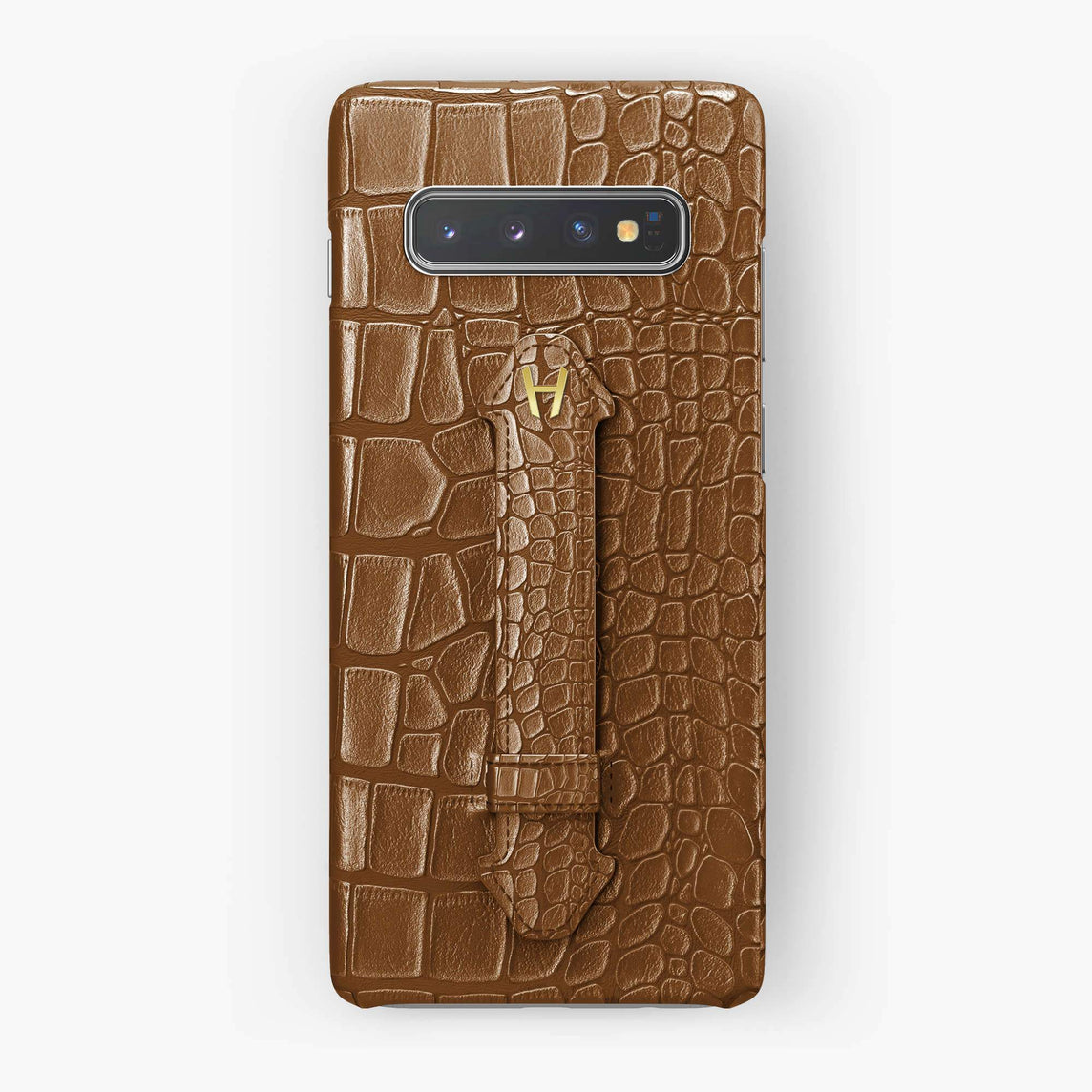 Alligator Finger Case Samsung S10 | Cognac - Yellow Gold