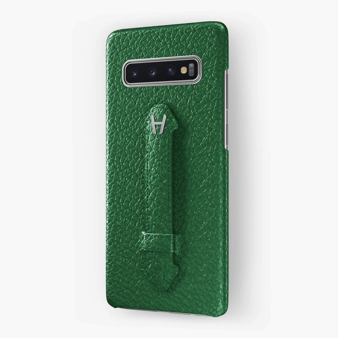 Calfskin Finger Case Samsung S10 | Green - Stainless Steel
