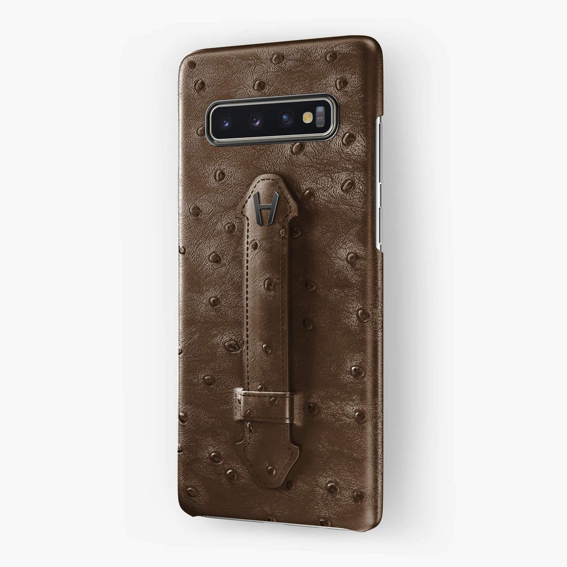 Ostrich Finger Case Samsung S10 | Tobacco - Black without-personalization